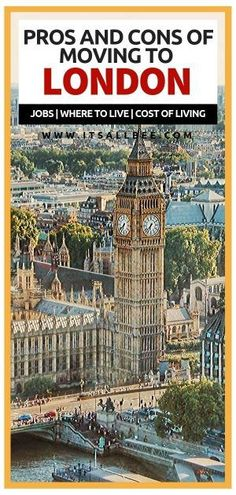 Everything you need to know about the pros and cons of moving to London, reasons to live in London, living … Europe Destinations, Europe Travel Guide, Travel Guides, Travelling Europe, Traveling, London Tips, London Blog, Living In London, Living In England