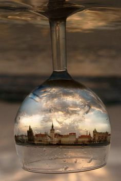 Paris photograph in shattering upside down glass hanging light?