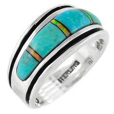 Sterling Silver Ring with Genuine Turquoise & Lab Opal Size 6 to 13 Unisex Rings For Girls, Rings For Men, Ring Design For Female, Cleaning Silver Jewelry, Wholesale Silver Jewelry, Turquoise Rings, Womens Jewelry Rings, Gold Jewelry, Women Jewelry