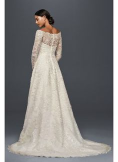 Off-The-Shoulder Lace A-Line Beaded Wedding Dress 4XLCWG765