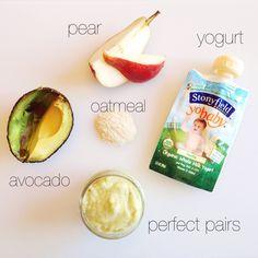 Some of baby's favorite foods: Stonyfield Organic organic yogurt + avocado, oatm… – Mom to Mom Nutrition – Homemade baby foods Baby Puree Recipes, Pureed Food Recipes, Baby Food Recipes, Toddler Meals, Kids Meals, Toddler Recipes, Toddler Food, Organic Yogurt, Organic Baby