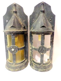 pair of large gothic outdoor wall lamps in iron 1950s outdoor