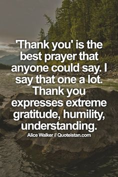 'Thank you' is the best prayer that anyone could say. I say that one a lot. Thank you expresses extreme gratitude, humility, understanding Gratitude Quotes, Humility Quotes, Positive Quotes, Bible Verses Quotes, Life Quotes, Good Prayers, Best Inspirational Quotes, Meaning Of Life, Photo Quotes