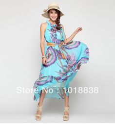 2013 HOT New trend Floral  Printed Bohemian Casual women dress Summer Maxi Beach women long dress