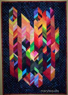 Great geometry mix between the pieces and the quilting. Art quilt fiber art wall hanging Make a Wish by marytequilts