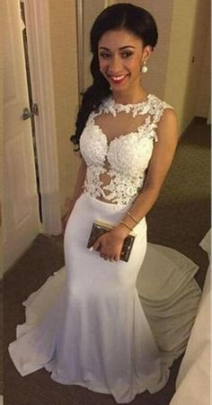 149 Long White Mermaid With small train Discount Formal Affordable  Beautiful Prom Dress Modest Evening Gowns fb389bab408d