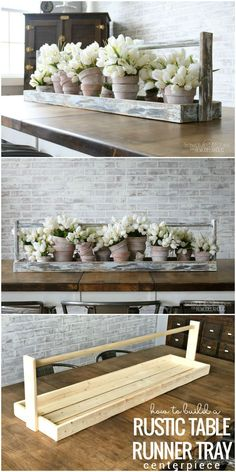 DIY Long Table Runner Tray for a Centerpiece is part of Wood crafts diy - This extra long rustic table runner tray makes the perfect centerpiece for a dining table, buffet, or console Fill it with flowers, books, and other decor Table En Bois Diy, Rustic Table Runners, Diy Casa, Creation Deco, Diy Wood Projects, Small Wooden Projects, Carpentry Projects, Wooden Tables, Wood Pallets