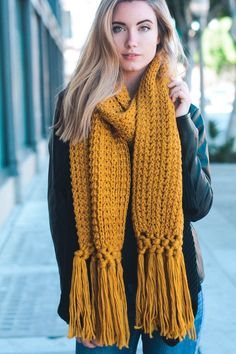 New Crochet Scarf Outfit Yarns Ideas You can find Yarns and more on our website.New Crochet Scarf Outfit Yarns Ideas Chunky Crochet Scarf, Chunky Knit Scarves, Crochet Scarves, Knit Crochet, Knitting Scarves, Chunky Knits, Oversized Scarf, Mustard Scarf, Crochet For Beginners Blanket