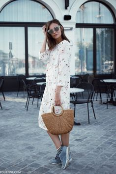 BELLEROSE c/o floral dress & striped socks, ASOS sunglasses (old), ETSY straw bag, REEBOK sneakers, DIAMANTI PER TUTTI c/o ring with tiny diamonds, PULL&BEAR embellished rings, DINH VAN c/o bracelet