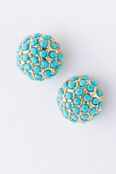 Turquoise Pave Stud Earrings