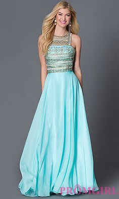 Dave and Johnny Aqua Blue Floor Length Prom Dress with Jewel Embellished Bodice at PromGirl.com
