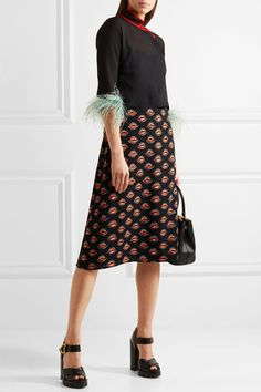 Prada - Printed Crepe Skirt - Black - IT