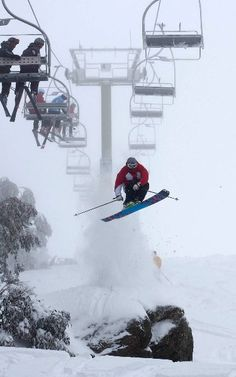 Skiing under the lifts at Falls Creek, Victoria. #Australia. Tom Costa photo: Charlie Brown