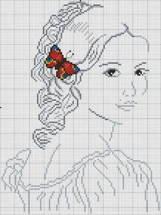 point de croix femme avec papillon rouge dans les cheveux - cross-stitch woman with a red butterfly in her hair