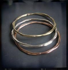 Bangle Bracelets in Brass, Sterling Silver, Shibuichi - Daphne - Joanna Morgan Designs