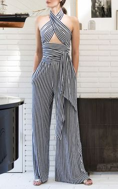 Just a pretty style Latest fashion trends: Women's fashion Criss cross cut out striped jumpsuit Jumpsuit Elegante, Fashion Outfits, Womens Fashion, Fashion Ideas, Cheap Fashion, Dress Fashion, Sweet Fashion, Fashion Top, Mode Inspiration