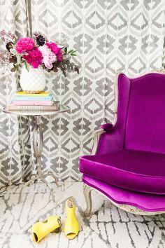Como usar o roxo na decoração da sala de estar - Casinha Arrumada