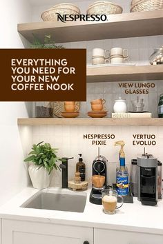 Setting up a coffee station in your new home? Let's start with the essentials. 1.) A Nespresso machine (or two!) for exceptional coffee at the touch of a button. 2.) Smart storage. Clear jars are great for keeping Nespresso capsules organized. Match to your kitchen decor for a cohesive look. 3.) Mugs of all sizes. From short espressos to tall latte recipes, you'll want cups to handle a variety of pours. Photo by: ourclassichouse on Instagram.