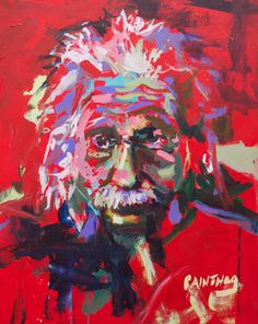 Original Abstract Albert Einstein Painting On Canvas by painthog
