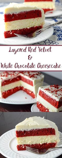 Layered Red Velvet and White Chocolate Cheese with White Chocolate Cream Cheese Frosting. The most delicious dessert you will ever make. Step-by-step pictures. (chocolate and cheese party) Brownie Desserts, Mini Desserts, Oreo Dessert, Birthday Desserts, Christmas Desserts, Just Desserts, Delicious Desserts, Birthday Cake Recipes, Plated Desserts