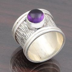 AMETHYST HOT SELL 925 STERLING SILVER RING 8.93g DJR4597 #Handmade #Ring