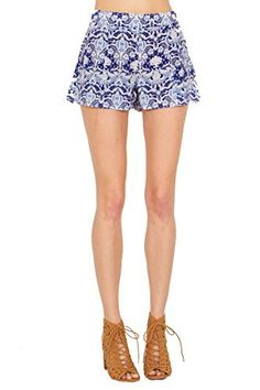 The Sugarlips Bella Shorts are blue and white abstract printed shorts. Side zipper closure. Price : $54.00 #MyLuluCloset #Sugarlips #NewArrivals