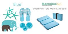 Smart Play Yard Mattress Topper, in Blue. Finally... my baby sleeps! This upgrade to the play yard is a must have! -- 5+ Smart Uses: Play Yards, Pack N Plays, Tummy Time, Mobile Changing Station, a Bench when Folded, Camping, Hotels, Grandma´s... Removable and washable cover too! Perfect for travel with baby. Great Baby Shower gift.
