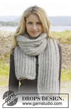 A warm and soft scarf in English rib in 2 strands Brushed Alpaca Silk. Pattern available for free! #dropsdesign #knitting #aw2014