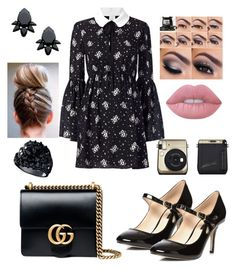 """""""Untitled #297"""" by martyswordrobe on Polyvore featuring Cinq à Sept, Dorothy Perkins, Gucci, Persy, Lime Crime and GUESS"""