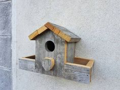 Beautiful hand made Bird House with feeding by LisaGloverCraft