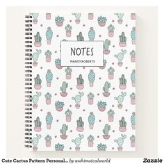 Shop Cute Cactus Pattern Personalized Spiral Notebook created by awhimsicalworld. Notebook School, Cute Notebooks For School, Diy Notebook Cover For School, Binders For School, Notebook Cover Design, Spiral Notebook Covers, Stationary School, Cute Stationary, School Stationery