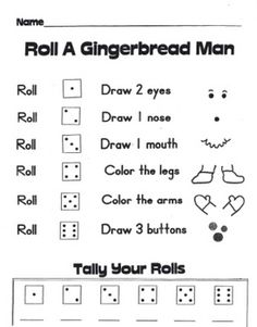 Students roll the dice to draw a gingerbread person on the separate gingerbread shape. They also practice tally skills and record the number of times each numeral is rolled. A fun seasonal activity to play individually or with a partner at a math center!
