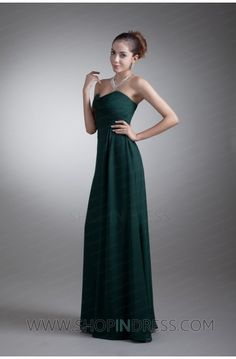 A-line Sweetheart Floor Length Chiffon Dark Navy Evening Dress with Ruched/Draped TSKN549