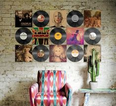 Vinyl Record and Album cover wall display Wall Art vinyl wall art Vinyl Records Decor, Record Decor, Record Wall Art, Vinyl Record Display, Display Wall, Music Wall Decor, Vinyl Record Projects, Music Wall Art, Cool Wall Decor