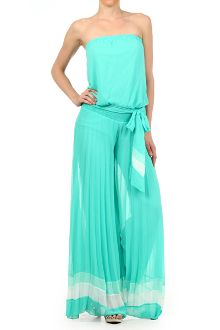 GORGEOUS STRAPLESS PLEATED JUMPSUIT