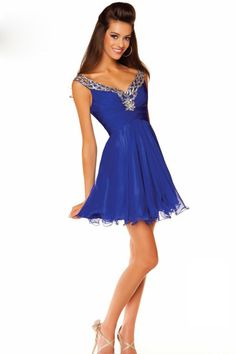 Concise Homecoming Dresses A Line Straps V Neck And V Back Short/Mini With Beads