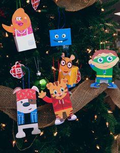 Kids' CBC characters printable ornaments! Mamma Yamma, Arthur, Bookaboo, Daniel Tiger, SuperWhy and Big Block Sing Song!
