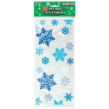 Blue and White Snowflakes Holiday Cellophane Bags, 20ct