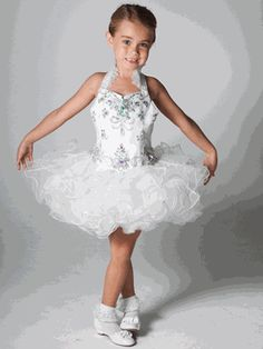 Unique Pageant Girls White Glitz Short Dress Little Girl Pageant Dresses Girls Pageant Dresses