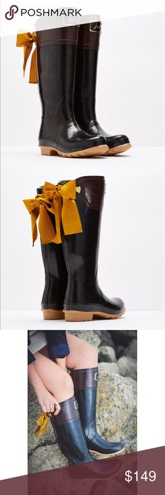 [Joules]evedon premium wellies These Premium Wellies continue to be a popular choice with discerning welly wearers. Gently sloping away at the back and with the addition of a luxurious ribbon to increase the elegance factor. Details: Full height, Bow detail to back, Joules plaque to front, Hard wearing rubber, Combined rubber, Lining for durability and Enhanced tread grip. 100% Rubber. No PayPal + No Trades. Only worn once for a shoot. Joules Shoes Winter & Rain Boots