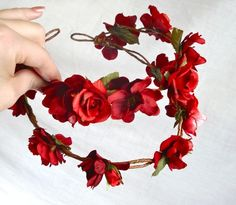 red flower head wreath - OUT WANDERING - a wedding, bridal, flower girl crown. $90.00, via Etsy.