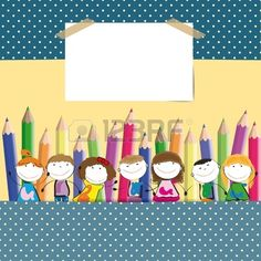 Background with happy kids and colorful crayons photo