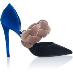 Marco de Vincenzo Velvet Multi Braid Pump (£660) ❤ liked on Polyvore featuring shoes, pumps, velvet pumps, woven shoes, marco de vincenzo shoes, braided shoes and marco de vincenzo