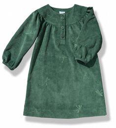 Vestido de pana verde con manga francesa