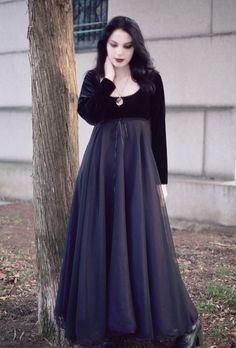 Coriandre Fairy Tale Romantic Gothic Wedding Dress - Handmade Empire Waist Period-Inspired Elegant Gothic Dress Long Layered Feminine Dress