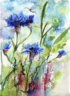 Cornflowers Korn Blumen Watercolor Painting Painting by Ginette Callaway
