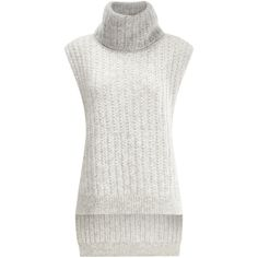 3.1 Phillip Lim Grey Alpaca Sleeveless Turtleneck (38 KWD) ❤ liked on Polyvore featuring tops, sweaters, jumper, short sweater, turtle neck sweater, turtleneck bodysuit, sleeveless turtleneck sweater and body suit