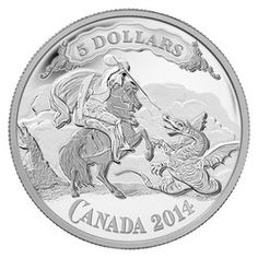 Royal Canadian Mint $5 2014 Fine Silver Coin - Canadian Bank Note Series - Saint George Slaying Dragon $69.95