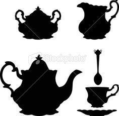 Tea pot silhouettes