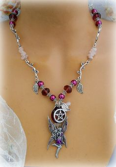 Fairy Enchantment Pentacle Necklace Wiccan by Cronesmagicalcrafts